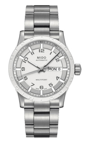 Mido Multifort Stainless Steel White Dial Day-Date Automatic Unisex Watch M018.830.11.012.00