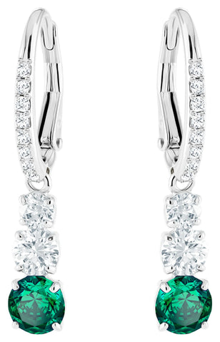 Swarovski Attract Trilogy Round Green and Clear Crystals Rhodium Plated Pierced Earrings 5414682