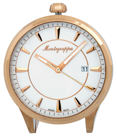 Montegrappa Fortuna White Dial Rose Gold Plated Stainless Steel Quartz Desk Clock IDFOTCRW