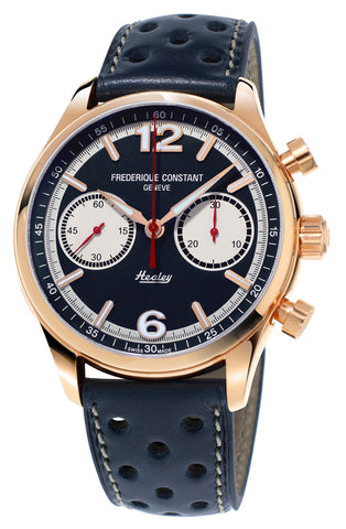 Limited Edition Frederique Constant Vintage Rally Healey Chronograph Automatic Rose Gold Tone Steel Blue Dial Blue Leather Strap Mens Watch FC-397HN5B4