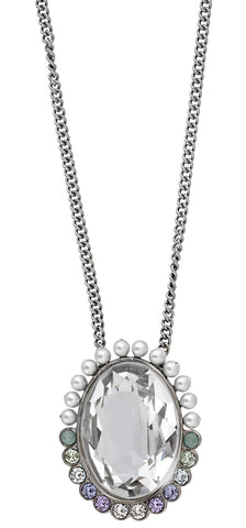 Swarovski Calista Palladium Plated Steel 5118133 Crystal & Pearl Long Adjustable Pendant Necklace for Women