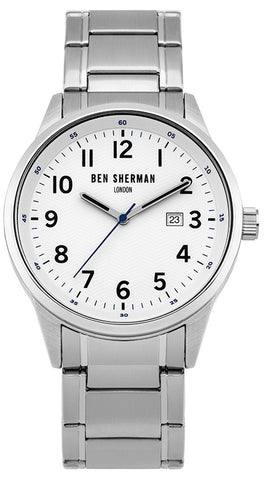 Ben Sherman London Stainless Steel Mens Watch White Dial Calendar Round Case Quartz WB065SM