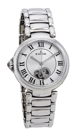 Edox LaPassion Open Heart Stainless Steel Silver Dial Ladies Automatic Watch 85025-3M-ARN