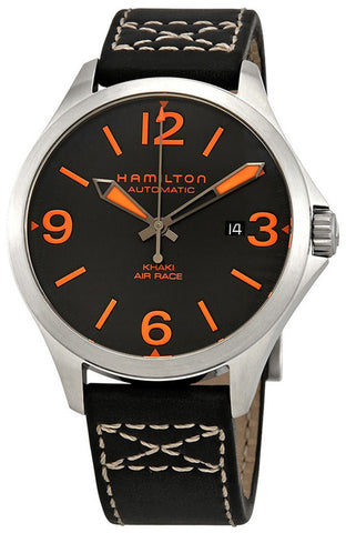 Hamilton Khaki Aviation Air Race Automatic Black and Orange Dial Date Black Leather Men's Strap Watch H76535731