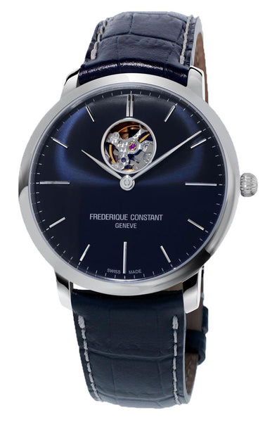 Frederique Constant Slimline Heart Beat Automatic Blue Dial Blue Leather Strap Mens Watch FC-312N4S6