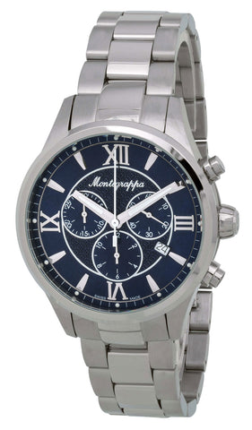 Montegrappa Fortuna Chronograph Blue Dial Stainless Steel Quartz Men's Watch Date IDFOWCID