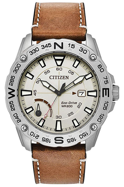 Citizen Matte Stainless Steel Cream Dial Tan Leather Strap Quartz Eco-Drive Date Mens Watch AW7040-02A