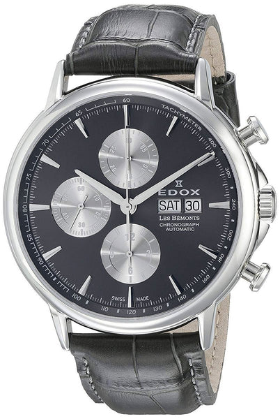 Edox Les Bemonts 01120 3 GIN Stainless Steel Mens Watch Chronograph Steel Bezel Automatic