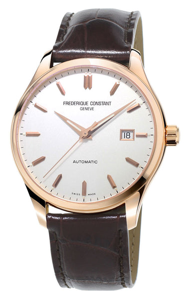 Frederique Constant Classics Index Automatic Rose Gold Tone Steel Silver Dial Brown Leather Strap Mens Watch FC-303V5B4