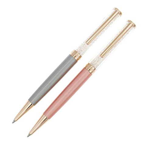 Swarovski Crystal Authentic Crystalline Pink Gray Ballpoint Pen Set