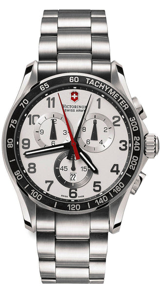 Swiss Army Victorinox Chrono Classic XLS Chronograph Tachymeter Scale Mens Steel Watch Date 241213
