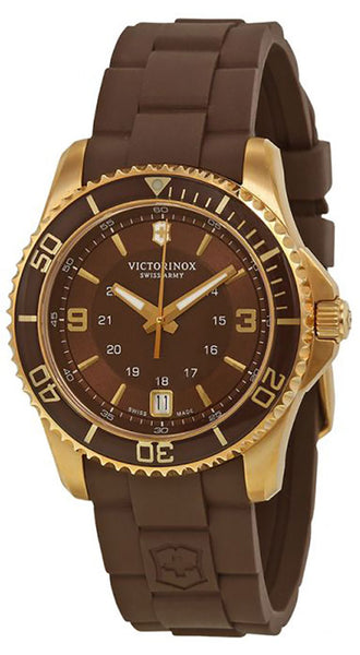 Victorinox Swiss Army Maverick GS Gold Plated Steel 241615 Womens Watch Brown Dial Rubber Strap