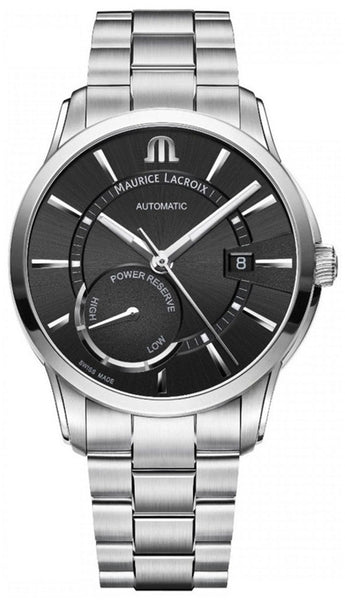 Maurice Lacroix Pontos Automatic Stainless Steel Black Dial Date Power Reserve Indicator Mens Watch PT6368-SS002-330-1