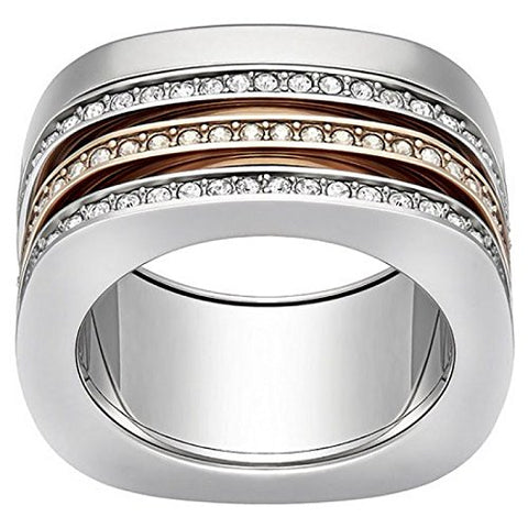 Swarovski Rhodium-Plated Stainless Steel Vio Ring 5184229