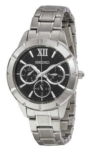 Seiko Stainless Steel Black Dial Date Quartz Mens Watch SKY689P1