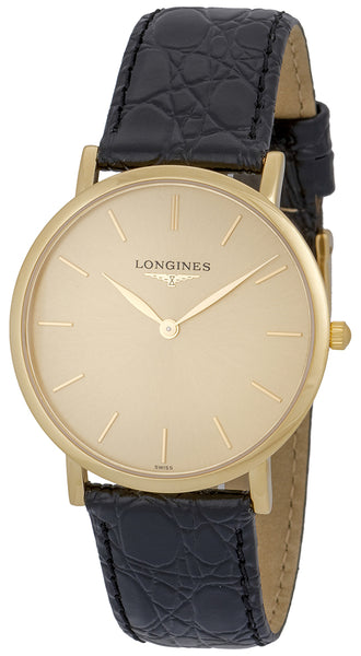 Longines Presence 18K Yellow Gold L48246322 Black Leather Strap Quartz Mens Watch Gold Tone Dial