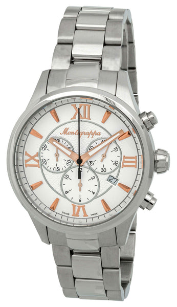 Montegrappa Fortuna Chronograph Date White Dial Stainless Steel Quartz Men's Watch IDFOWCIR