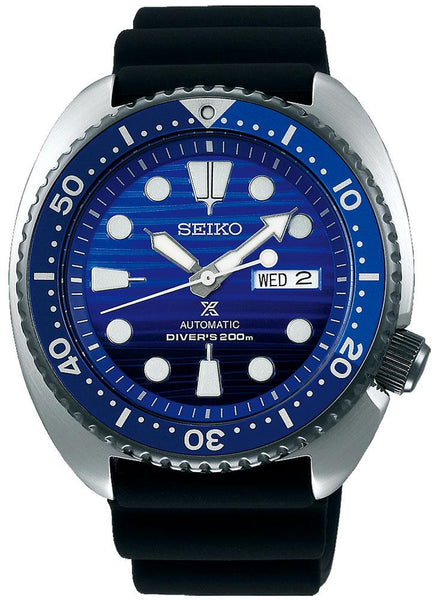 Seiko Special Edition Prospex Automatic Black Silicone Strap Black and Blue Dial Day-Date Divers Mens Watch SRPC91K1