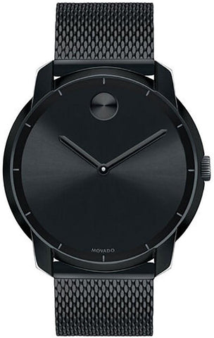 Movado Bold Black Dial Black Ion-plated Stainless Steel Mesh Band Quartz Mens Watch 3600261