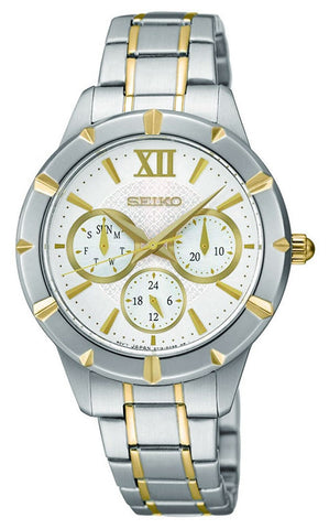 Seiko Two-Tone Stainless Steel Silver Dial Date Quartz Womens Watch SKY690P1
