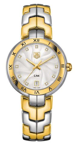 TAG Heuer Link Yellow Gold and Steel Silver-Tone Dial Diamonds Date Quartz Womens Watch WAT1352.BB0962