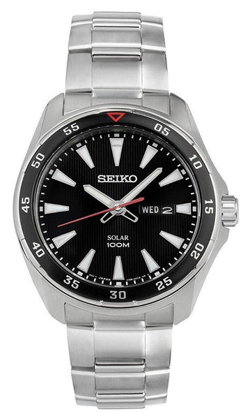 Seiko Solar Stainless Steel Black Dial Day-Date Quartz Mens Watch SNE393P1