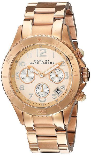 Marc by Marc Jacobs Rock Chronograph Champagne Dial Date Rose Gold Tone Stainless Steel Unisex Watch MBM3156