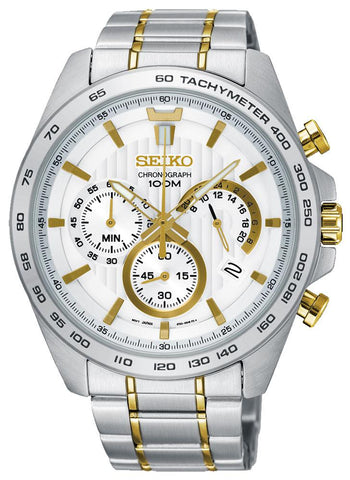 Seiko Chronograph Two-Tone Stainless Steel Silver-Tone Dial Date Quartz Mens Watch SSB309P1
