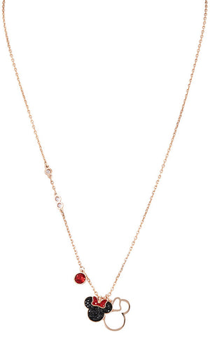 Swarovski Mickey and Minnie Rose Gold Plated Pendant Necklace 5429090