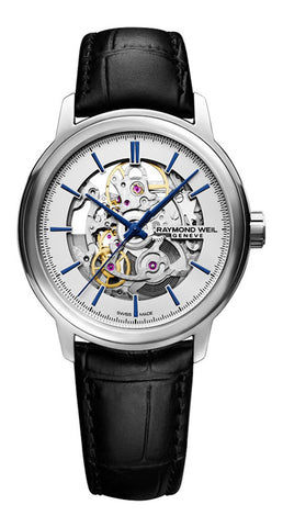 Raymond Weil Maestro Skeleton Dial Black Leather Strap Automatic Mens Watch 2215-STC-65001