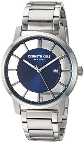 Kenneth Cole New York Men's TRANSPARENCY Quartz Stainless-Steel Strap, Silver, 20.8 Casual Watch (Model: KC50560002)