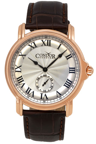 Condor Classic Rose Gold Plated Mens Strap Swiss Watch C225R