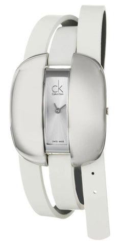 Calvin Klein Treasure Wrap Around White Leather Silver Dial Quartz Womens Watch K2E23120