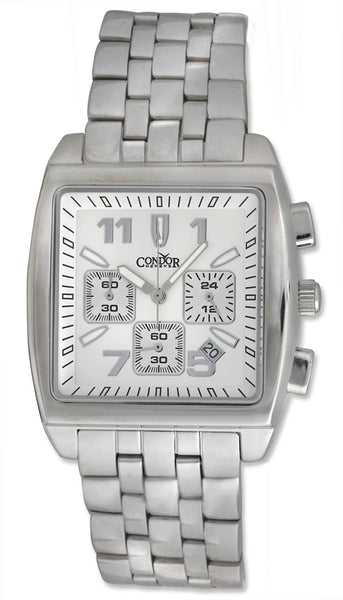 Condor Classic Chronograph Stainless Steel Mens Watch Date Silver Dial CWS112