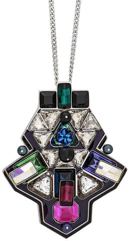 Swarovski Buzz Pendant with Multi-Color Crystals 5070638 Palladium Plated Steel Chain Necklace for Women