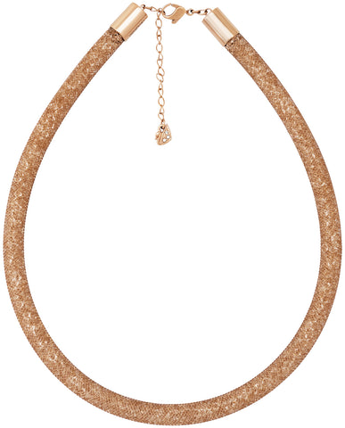 Swarovski Stardust Deluxe Crystal Filled Rose Gold Fishnet Tube Necklace for Women 5171532