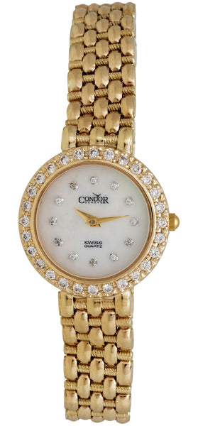 Condor 14kt Gold & Diamond Womens Luxury Swiss Watch Quartz C28DPMOP