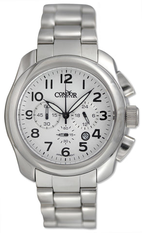 Condor Classic Chronograph Stainless Steel Mens Watch Date White Dial CWS109