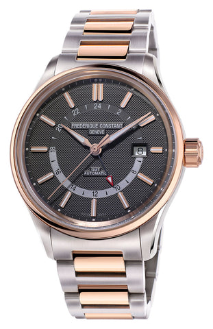 Frederique Constant Yacht Timer GMT Automatic Two Tone Stainless Steel Gray Dial Mens Watch FC-350GT4H2B