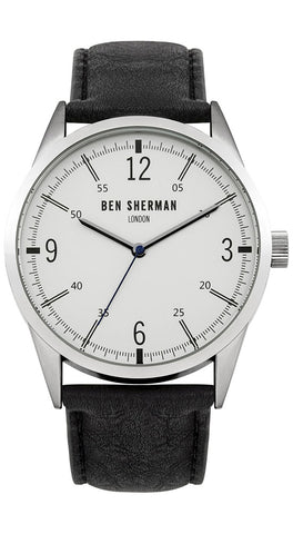 Ben Sherman London Stainless Steel Mens Watch Light Gray Dial Black Leather Strap Round Case Quartz WB051B