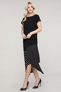 Black & Ivory Mixed Polka Dot Asymmetrical Skirt