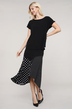 Load image into Gallery viewer, Black & Ivory Mixed Polka Dot Asymmetrical Skirt