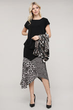 Load image into Gallery viewer, Brown, Black & Cream Mixed Animal Print Asymmetrical Skirt