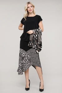 Brown, Black & Cream Mixed Animal Print Asymmetrical Skirt