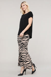 Black & Cream Animal Print Maxi Skirt