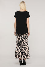 Load image into Gallery viewer, Black & Cream Animal Print Maxi Skirt