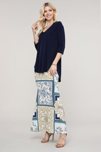 Ivory and Blue Abstract Maxi Skirt