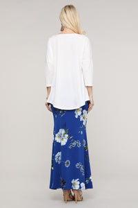 Royal Blue & Ivory Floral Maxi Skirt