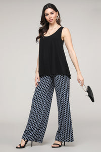 Black & Blue Geometric Print Palazzo Pants