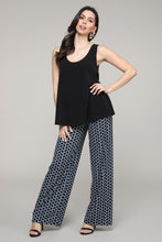 Load image into Gallery viewer, Black & Blue Geometric Print Palazzo Pants